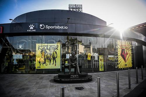 7th November 2020; Vicarage Road, Watford, Hertfordshire, England; English Football League Championship Football, Watford versus Coventry City; The Graham Taylor statue outside the Hornet Shop.
