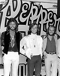 Bee Gees 1978 Barry Gibb, Robin Gibb and Maurice Gibb on Sgt. Pepper film set