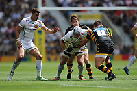 Thomas Waldrom of Exeter Chiefs is tackled by Danny Cipriani and Matt Mullan of Wasps during the Premiership Rugby Final at Twickenham Stadium on Saturday 27th May 2017 (Photo by Rob Munro)