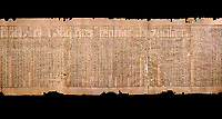 Ancient Egyptian Book of the Dead papyrus - Spell 51 for not walking upside down in gods domain, Iufankh's Book of the Dead, Ptolomaic period (332-30BC).Turin Egyptian Museum.  Black background<br /> <br /> The translation of  Iuefankh's Book of the Dead papyrus by Richard Lepsius marked a truning point in the studies of ancient Egyptian funereal studies.
