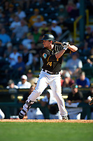 Pittsburgh Pirates third baseman Dan Gamache (74) at bat during a Spring Training game against the Boston Red Sox on March 9, 2016 at McKechnie Field in Bradenton, Florida.  Boston defeated Pittsburgh 6-2.  (Mike Janes/Four Seam Images)