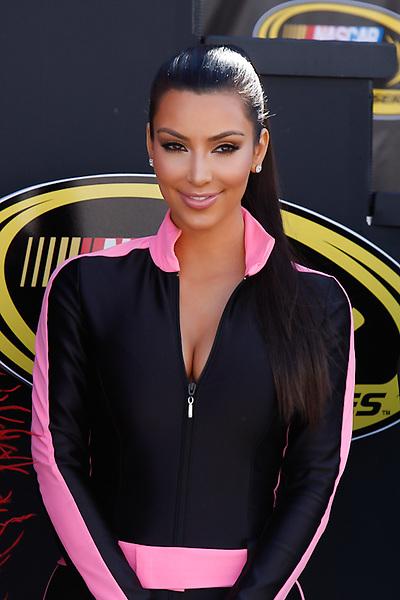 Kim Kardashian, sponsor of the #36 Sephora NASCAR Sprint Cup Series car, during the starting ceremonies of the Shelby 427 at Las Vegas Motor Speedway.