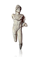 Roman statue of Dioscur. Marble. Perge. 2nd century AD. Antalya Archaeology Museum; Turkey. Against a white background.<br /> <br /> The statue is one of the twin brothers that together are called the Dioscuri which means sons of the God Zeus. Their names are Castor and Pollux.