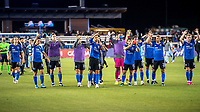 SAN JOSE, CA - MAY 22: San Jose Earthquakes players acknowledge the fans after a game between San Jose Earthquakes and Sporting Kansas City at PayPal Park on May 22, 2021 in San Jose, California.