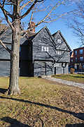 Salem Witch House in Salem, Massachusetts during the winter months. While known as the Salem Witch House, this was the home of Jonathan Corwin, one of the judges involved in the Salem witch trials. Thought to have been built in the 1600s (date ranges from 1642-1675), and restored in 1946 by Historic Salem, this is the only structure still standing in Salem that has a direct connection to the 1692 Salem witch trials.