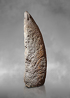 Late European Neolithic prehistoric Menhir standing stone with carvings on its face side. The representation of a stylalised male figure starts at the top with a long nose from which 2 eyebrows arch around the top of the stone. below this is a carving of a falling figure with head at the bottom and 2 curved arms encircling a body above. at the bottom is a carving of a dagger running horizontally across the menhir. Excavated from Perida Iddocca VII site,  Laconi.  Menhir Museum, Museo della Statuaria Prehistorica in Sardegna, Museum of Prehoistoric Sardinian Statues, Palazzo Aymerich, Laconi, Sardinia, Italy