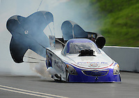 Jun. 19, 2011; Bristol, TN, USA: NHRA funny car driver Melanie Troxel during eliminations at the Thunder Valley Nationals at Bristol Dragway. Mandatory Credit: Mark J. Rebilas-