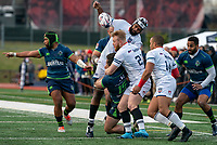 WASHINGTON, DC - FEBRUARY 16: Nic Mirhashem #21 of Old Glory DC wrestles the ball away from Mat Turner #15 of the Seattle Seawolves during a game between Seattle Seawolves and Old Glory DC at Cardinal Stadium on February 16, 2020 in Washington, DC.