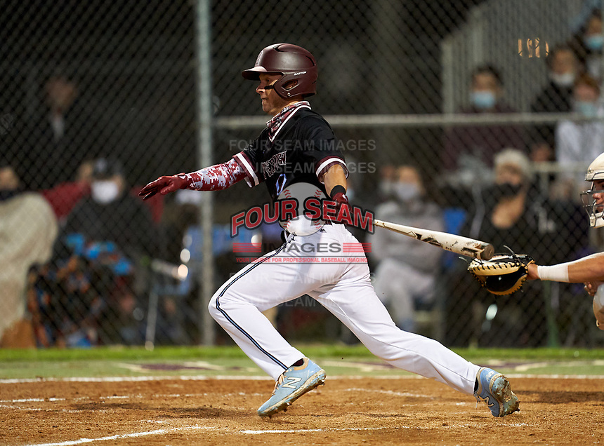 Riverview Rams Ian Dempsey (10) bats during a game against the Sarasota Sailors on February 19, 2021 at Rams Baseball Complex in Sarasota, Florida. (Mike Janes/Four Seam Images)