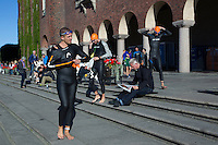 25 AUG 2013 - STOCKHOLM, SWE - Competitors prepare for their wave start of the Stockholm Triathlon in front of Stockholm City Hall, Stockholm, Sweden (PHOTO COPYRIGHT © 2013 NIGEL FARROW, ALL RIGHTS RESERVED)