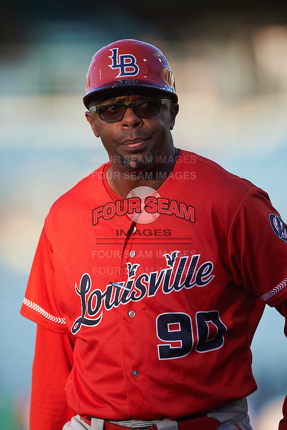 Louisville Bats manager Delino DeShields (90) during a game against the Syracuse Chiefs on June 6, 2016 at NBT Bank Stadium in Syracuse, New York.  Syracuse defeated Louisville 3-1.  (Mike Janes/Four Seam Images)