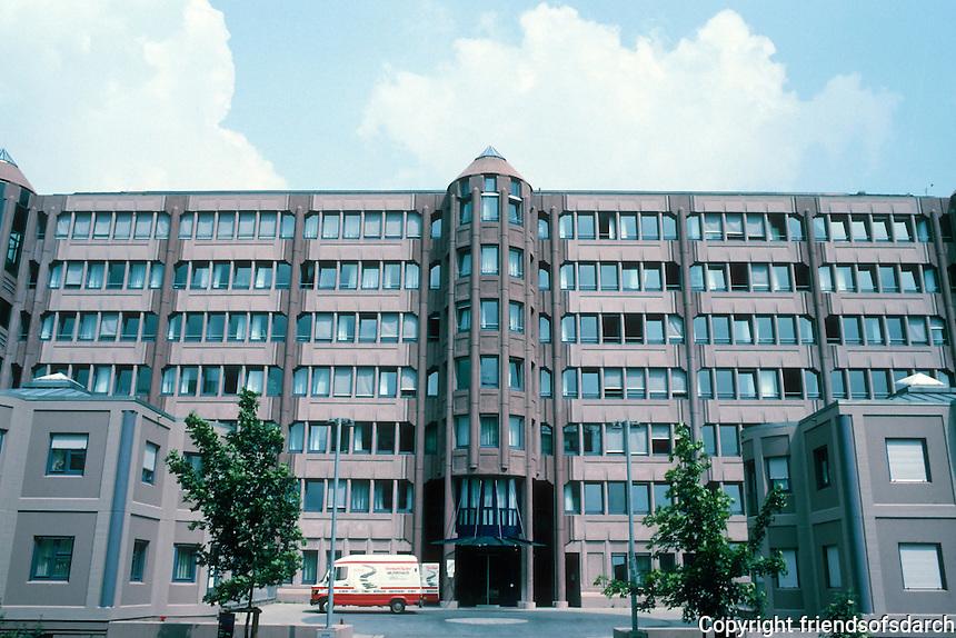 Gottfried Bohm: Zublin Ag Construction Company Headquarters, Stuttgart-Mohringen, 1981, 1983-4. West elevation. Bohn received Pritzker Prize in 1986.