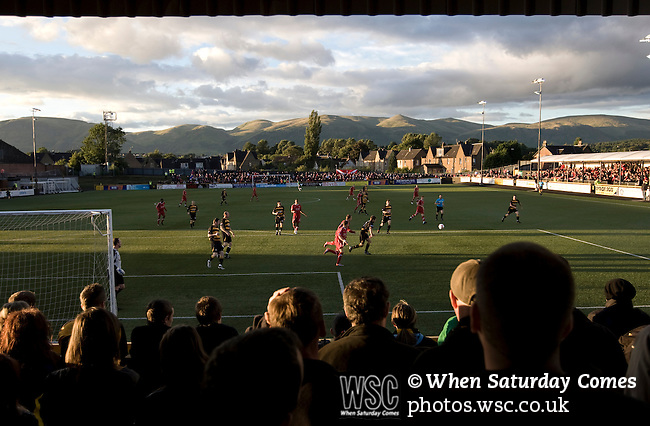 Alloa Athletic 0, Aberdeen 3, 24/08/2010. Recreation Park, Scottish League Cup second round. Alloa Athletic football supporters watching their team defending at Recreation Park during the Co-operative Insurance Cup second round match with visitors Aberdeen, with the Ochil Hills providing the backdrop. Scottish League second division Alloa lost the match by three goals to nil against their Premier League rivals in a match watched by 1649 spectators. Photo by Colin McPherson.