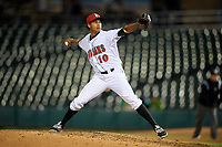 Indianapolis Indians relief pitcher Edgar Santana (10) during a game against the Toledo Mud Hens on May 2, 2017 at Victory Field in Indianapolis, Indiana.  Indianapolis defeated Toledo 9-2.  (Mike Janes/Four Seam Images)