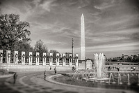 WWII Memorial Washington Monument Washington DC Black and White Photography Washington DC Art - - Framed Prints - Wall Murals - Metal Prints - Aluminum Prints - Canvas Prints - Fine Art Prints Washington DC Landmarks Monuments Architecture