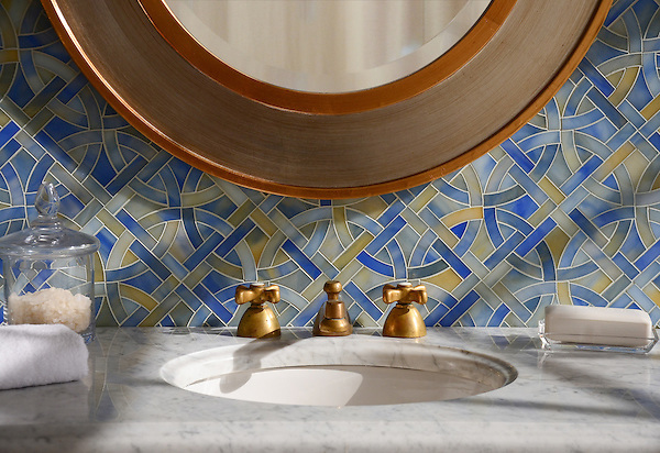 Poco Via, a waterjet mosaic shown in Chalcedony jewel glass, is part of the Miraflores collection by Paul Schatz for New Ravenna.