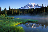Mount Rainier reflected in Reflection Lake, Mount Rainier National Park, Washington