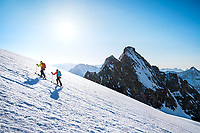 Ski touring on the Ränfenhorn before making the huge descent of the Rosenlaui Glacier on the last day of the Berner Haute Route, Switzerland