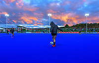 The Black Sticks warm up before the Sentinel Homes Trans Tasman Series hockey match between the New Zealand Black Sticks Women and the Australian Hockeyroos at Massey University Hockey Turf in Palmerston North, New Zealand on Tuesday, 1 June 2021. Photo: Dave Lintott / lintottphoto.co.nz