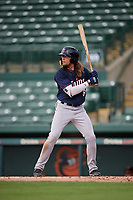 GCL Twins designated hitter Christian Cavaness (8) at bat during the first game of a doubleheader against the GCL Orioles on August 1, 2018 at CenturyLink Sports Complex Fields in Fort Myers, Florida.  GCL Twins defeated GCL Orioles 7-6 in the completion of a suspended game originally started on July 31st, 2018.  (Mike Janes/Four Seam Images)