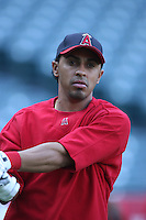 Maicer Izturis of the Los Angeles Angels during batting practice before a 2007 MLB season game at Angel Stadium in Anaheim, California. (Larry Goren/Four Seam Images)