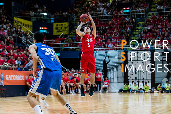 Lo Yi Ting #5 of SCAA Men's Basketball Team shoots the ball against the Eastern Long Lions during the Hong Kong Basketball League playoff game between SCAA and Eastern Long Lions at Queen Elizabeth Stadium on July 27, 2018 in Hong Kong. Photo by Yu Chun Christopher Wong / Power Sport Images