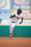 Rochester Red Wings Nick Gordon (1) running the bases during an International League game against the Scranton/Wilkes-Barre RailRiders on June 24, 2019 at Frontier Field in Rochester, New York.  Rochester defeated Scranton 8-6.  (Mike Janes/Four Seam Images)