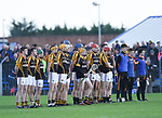 The Ballyea team stand for the anthem before the county senior hurling final against Cratloe at Cusack Park. Photograph by John Kelly.