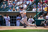 Scranton/Wilkes-Barre RailRiders Trey Amburgey (29) hits a home run during an International League game against the Rochester Red Wings on June 25, 2019 at Frontier Field in Rochester, New York.  Rochester defeated Scranton 10-9.  (Mike Janes/Four Seam Images)