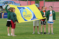Fair Play flag kids. FC Gold Pride defeated Sky Blue FC 1-0 during a Women's Professional Soccer (WPS) match at Yurcak Field in Piscataway, NJ, on May 1, 2010.