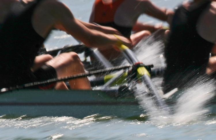 Rowing, Men's eight oared rowing shells, blur motion, San Diego Crew Classic, Rowing Regatta, Mission Bay, San Diego, California, West Coast, USA.