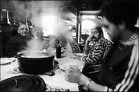 Europe/France/Auvergne/15/Cantal/Massif du Puy Mary/ Mandailles ; Jour de la Fète du Cochon ou Tuade chez Daniel Reygade -Parc Naturel Régional des Volcans d'Auvergne.Aprés la tuade on mange la soupe au choux