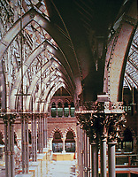 Oxford University Museum of Natural History, a Neo-Gothic building  designed by the Irish architects Thomas Newenham Deane and Benjamin Woodward, mostly Woodward. Glass roof and iron pillars with ornamental leaves.