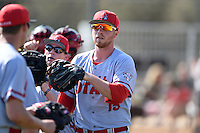 Ball State Cardinals first baseman Brandon Estep (15) before a game against the Dartmouth Big Green on March 7, 2015 at North Charlotte Regional Park in Port Charlotte, Florida.  Ball State defeated Dartmouth 7-4.  (Mike Janes/Four Seam Images)