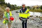 River Feale Bank Strengthening: Ina Ina Bunyan of Convent Street, Listowel whose house has been undermined due to scaling of the river bank and Minister of State with responsibility for the OPW Patrick O'Donovan.