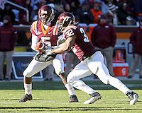 Nov 27, 2010; Charlottesville, VA, USA;  Virginia Tech Hokies quarterback Tyrod Taylor (5) and Virginia Tech Hokies running back Darren Evans (32) during the game against the Virginia Cavaliers at Lane Stadium. Virginia Tech won 37-7. Mandatory Credit: Andrew Shurtleff-
