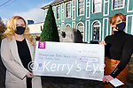 Lisa O'Donoghue-Delve (left) Assistant Secretary Kerry Association London presenting a cheque for €800 to Trish O'Sullivan Secretary Iveragh Group-Kerry Hospice, money raised by Emmett Sugrues live stream on Facebook back in June.
