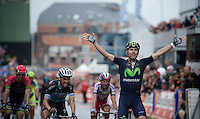 race winner after an elite sprint to the finish: Alejandro Valverde (ESP/Movistar), beating Julian Alaphilippe (FRA/Etixx-QuickStep) & Joaquim Rodriguez (ESP/Katusha) on the finish line<br /> <br /> 101th Liège-Bastogne-Liège 2015