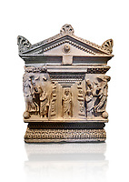 End panel of a Roman relief garland  sculpted sarcophagus, style typical of Pamphylia, 3rd Century AD, Konya Archaeological Museum, Turkey. Against a white background.