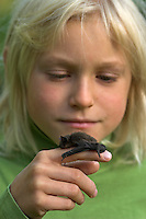Kind, Junge mit einer Zwergfledermaus auf der Hand, Zwerg-Fledermaus, Pipistrellus pipistrellus, Common pipistrelle, Pipistrelle commune