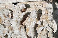 Dettaglio di un'urna cineraria, originalmente ricoperta d'oro, esposta in occasione della conferenza stampa sul ritrovamento di 23 urne di arte Etrusca ed oltre 3000 reperti rinvenuti in un'area nel territorio di Perugia, presso la sede del Comando Carabinieri per la Tutela del Patrimonio Culturale a Roma, 27 giugno 2013.<br /> A detail of a cinerary urn originally covered in gold, displayed in occasion of a press conference on the finding of 23 Etrurian cinerary urns and more than 3,000 finds from a tomb complex in the area of modern Perugia, in Rome, 27 June 2013.<br /> UPDATE IMAGES PRESS/Riccardo De Luca