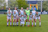(Back row left to right) Sara Yuceil (13) of OHL, Amber Tysiak (3) of OHL, Sari Kees (2) of OHL, goalkeeper Louise Van Den Bergh (1) of OHL, Auke Swevers (4) of OHL (Front row left to right) Marie Detruyer (17) of OHL, Estee Cattoor (11) of OHL, Jill Janssens (7) of OHL, Luna Vanzeir (10) of OHL, Zenia Mertens (6) of OHL and Lenie Onzia (8) of OHL pose for the team photo before a female soccer game between AA Gent Ladies and Oud Heverlee Leuven on the fourth matchday of play off 1 in the 2020 - 2021 season of Belgian Scooore Womens Super League , saturday 1 st of May 2021  in Oostakker , Belgium . PHOTO SPORTPIX.BE | SPP | STIJN AUDOOREN