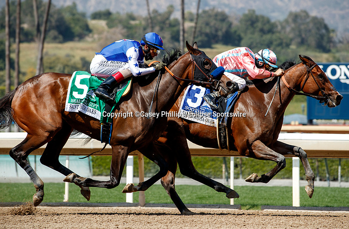 ARCADIA, CA  APRIL 3: #3 Soothsay, ridden by Flavien Prat, and #5 Beautiful Gift, ridden by John Velazquez, in the stretch of the Santa Anita Oaks (Grade ll) on April 3, 2021 at Santa Anita Park, in Arcadia, CA. (Photo by Casey Phillips/ Eclipse Sportswire/CSM)