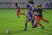 Gent's midfielder Chloe Vande Velde (10) and Woluwe's midfielder Marie Bougard (10) pictured during a female soccer game between  AA Gent Ladies and Femina White Star Woluwe on the third matchday of the 2020 - 2021 season of Belgian Scooore Womens Super League , friday 2 nd of October 2020  in Oostakker , Belgium . PHOTO SPORTPIX.BE | SPP | STIJN AUDOOREN