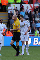 Pictured:(L-R) referee L. Mason and Michu.<br /> Sunday 19 May 2013<br /> Re: Barclay's Premier League, Swansea City FC v Fulham at the Liberty Stadium, south Wales.