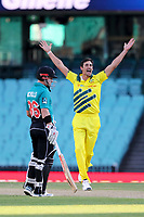 13th March 2020, Sydney Cricket Ground, Sydney, Australia;  Mitchell Starc of Australia appeals. International One Day Cricket. Australia versus New Zealand Blackcaps, Chappell–Hadlee Trophy, Game 1.