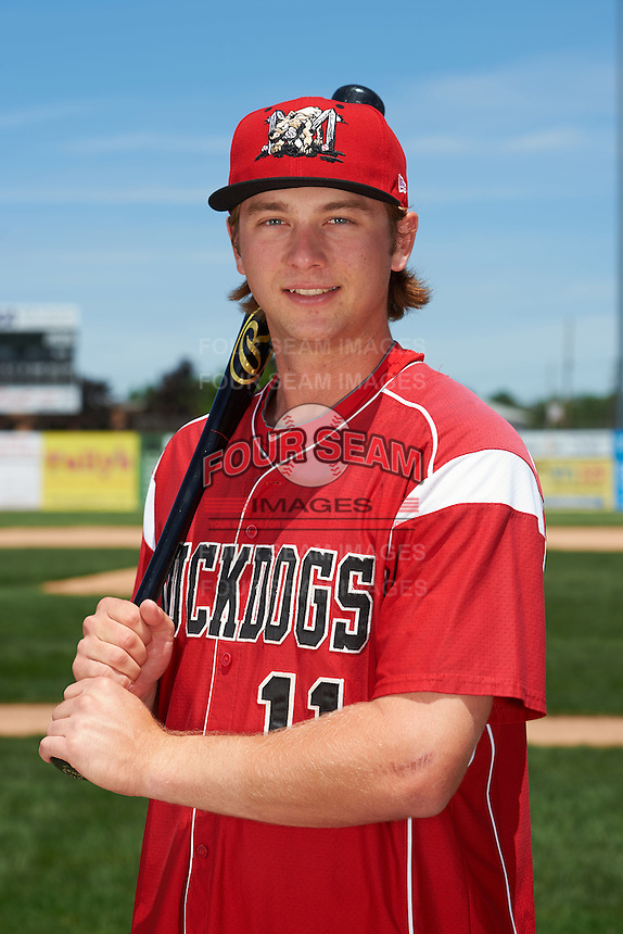 Batavia Muckdogs infielder Matthew Foley (11) poses for a photo before the teams first practice on June 15, 2016 at Dwyer Stadium in Batavia, New York.  (Mike Janes/Four Seam Images)