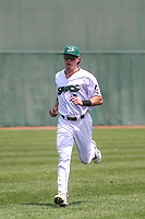 Beloit Snappers outfielder Griffin Conine (9) warms up in the outfield prior to a game against the Quad Cities River Bandits on July 18, 2021 at Pohlman Field in Beloit, Wisconsin.  (Brad Krause/Four Seam Images)