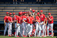 Maryland Terrapins outfielder Randy Bednar (3) is greeted by his teammates after hitting a home run against the Michigan Wolverines on May 23, 2021 in NCAA baseball action at Ray Fisher Stadium in Ann Arbor, Michigan. Maryland beat the Wolverines 7-3. (Andrew Woolley/Four Seam Images)