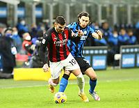Milano  26-01-2021<br /> Stadio Giuseppe Meazza<br /> Coppa Italia Tim 2020/21<br /> Inter - Milan nella foto:  Theo Hernandez Darmian                                                        <br /> Antonio Saia Kines Milano